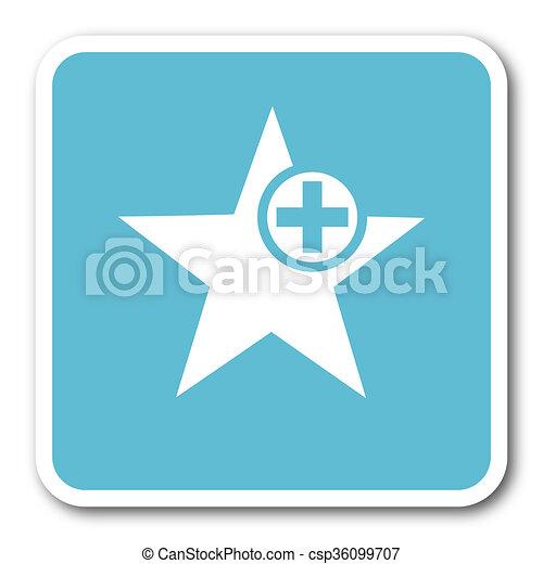 star blue square internet flat design icon - csp36099707