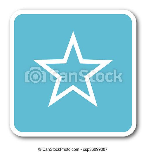 star blue square internet flat design icon - csp36099887