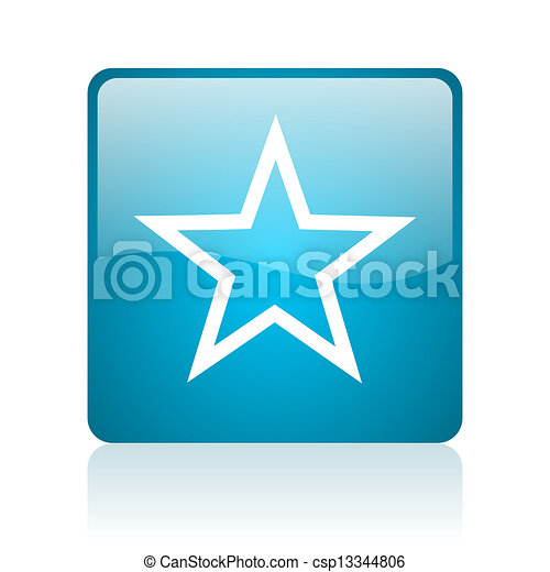 star blue square web glossy icon - csp13344806