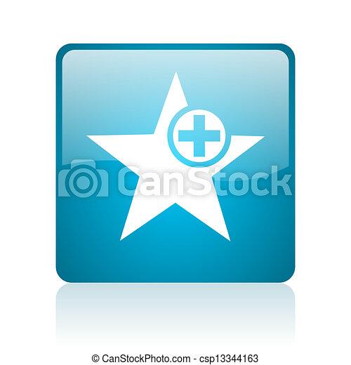 star blue square web glossy icon - csp13344163