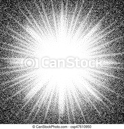 Star burst. Abstract vector black and white halftone background - csp47610950