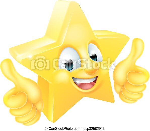 Star Cartoon Mascot Giving Thumbs Up - csp32582913