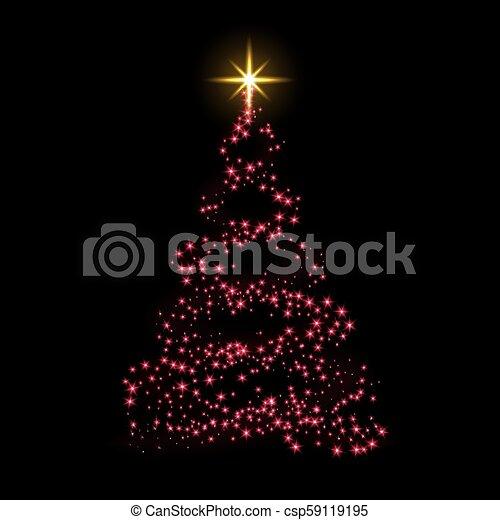 star., celebration., or, éclat, lumière, symbole, decoration., arbre, illustration, année, arrière-plan., clair, vecteur, rouges, joyeux, nouveau, vacances, noël carte, heureux - csp59119195