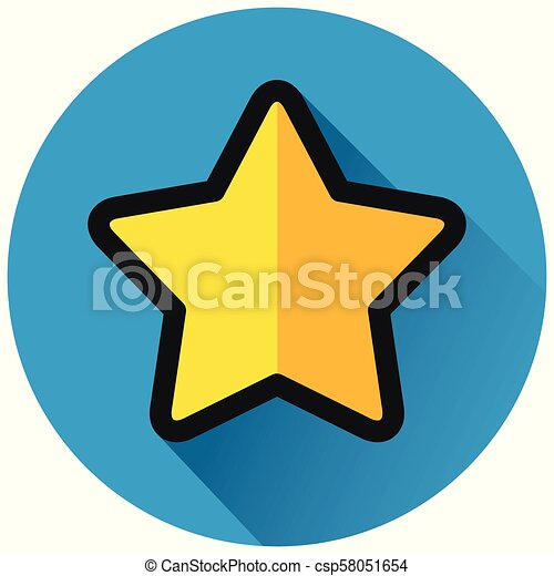 star circle flat blue icon - csp58051654