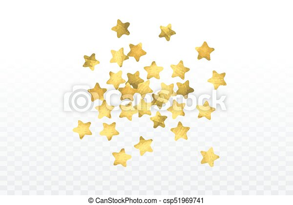 Star Confetti Isolated On Transparent Background Falling Magic Particles Celebration Card Template With Watercolor Gold Gouache Elements Christmas Party