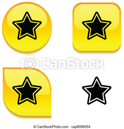 Star glossy button. - csp8099354