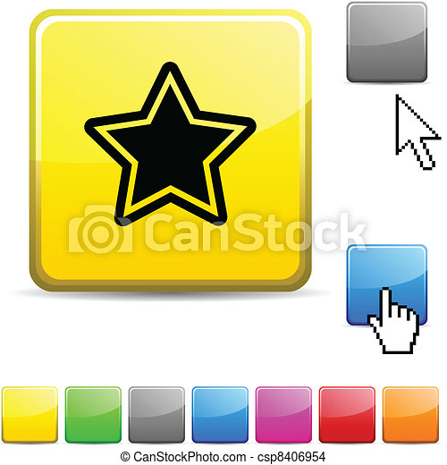 Star glossy button. - csp8406954