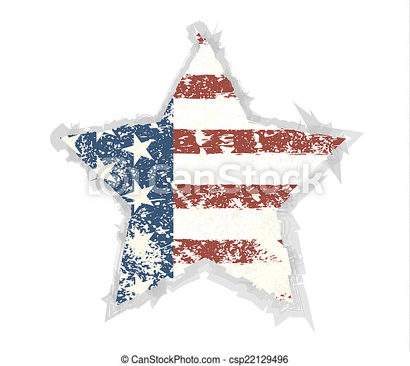 Star Grunge American flag background. Vector illustration, EPS 1 - csp22129496