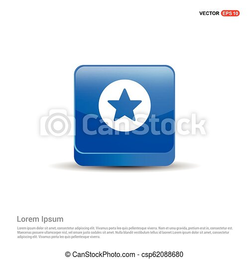Star Icon - 3d Blue Button - csp62088680