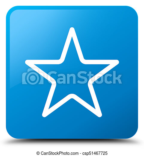 Star icon cyan blue square button - csp51467725