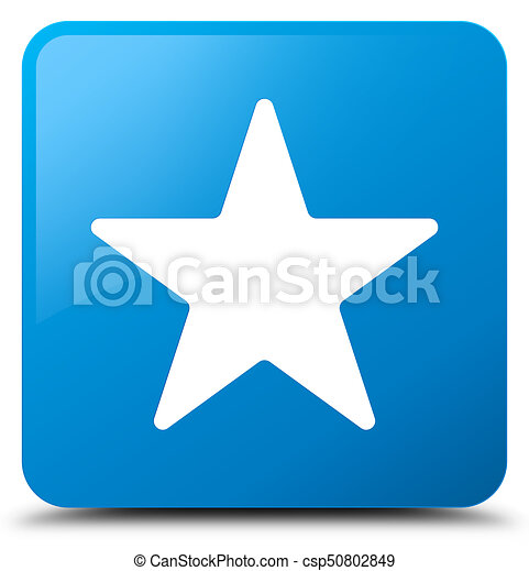 Star icon cyan blue square button - csp50802849