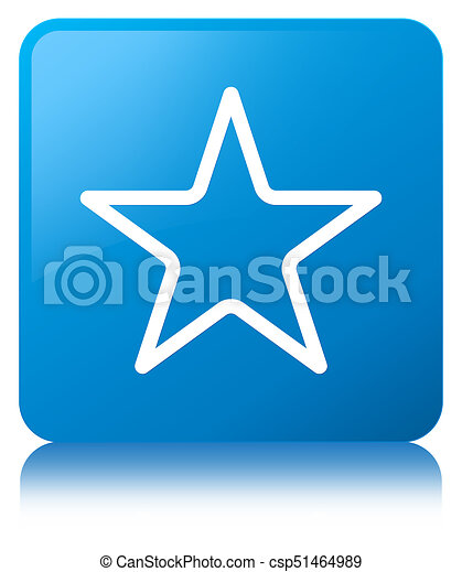 Star icon cyan blue square button - csp51464989
