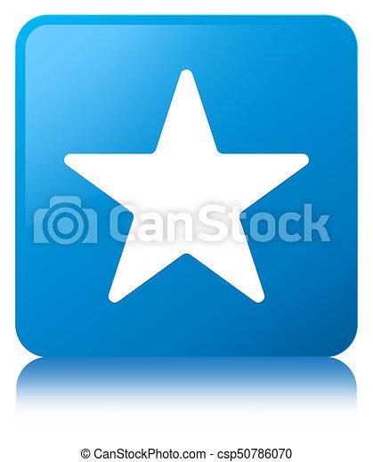 Star icon cyan blue square button - csp50786070
