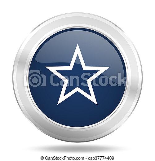 star icon, dark blue round metallic internet button, web and mobile app illustration - csp37774409