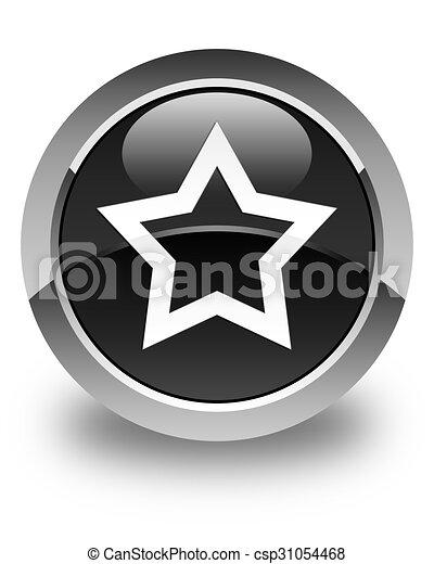 Star icon glossy black round button - csp31054468