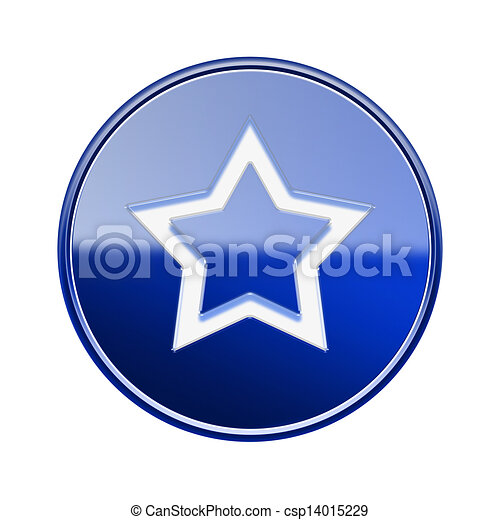 Star icon glossy blue, isolated on white background - csp14015229