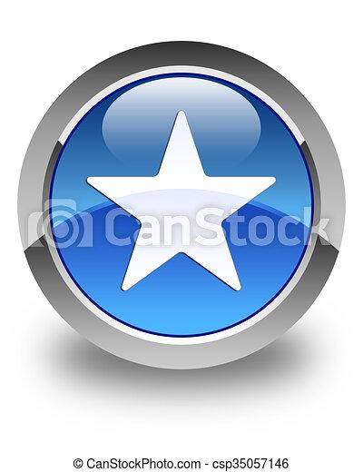 Star icon glossy blue round button 2 - csp35057146