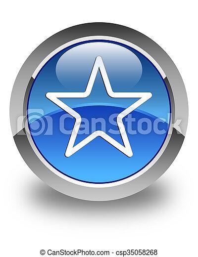 Star icon glossy blue round button 3 - csp35058268