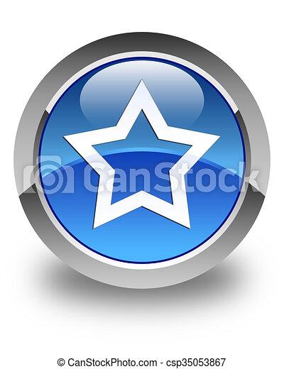 Star icon glossy blue round button - csp35053867