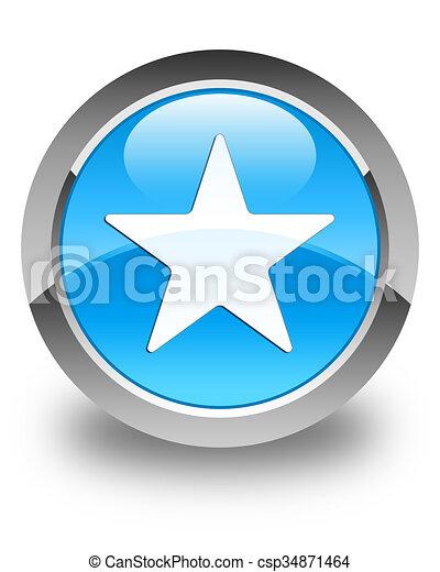 Star icon glossy cyan blue round button - csp34871464