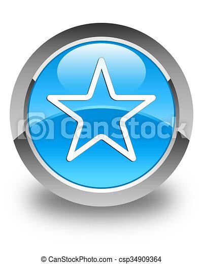 Star icon glossy cyan blue round button - csp34909364