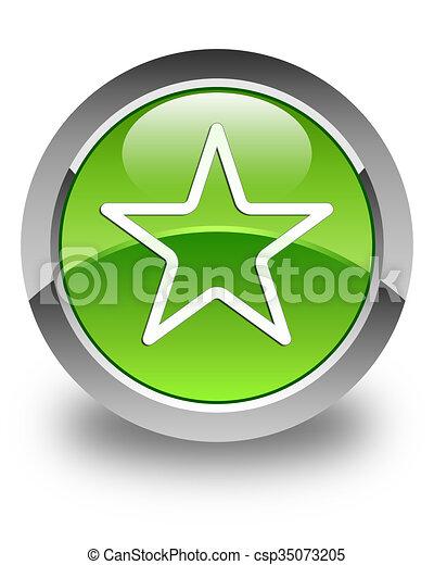 Star icon glossy green round button 3 - csp35073205
