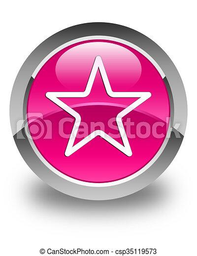 Star icon glossy pink round button - csp35119573