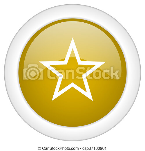star icon, golden round glossy button, web and mobile app design illustration - csp37100901