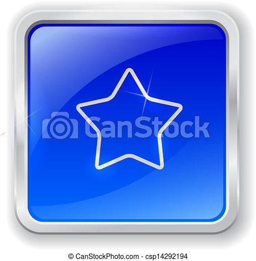 Star icon on blue button - csp14292194