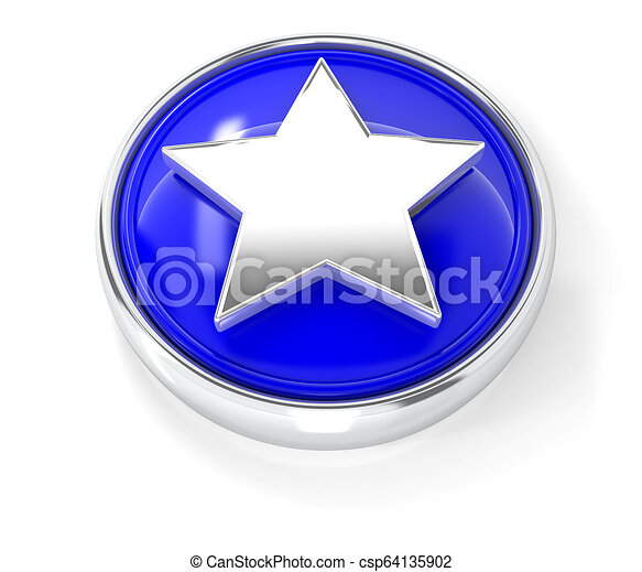 Star icon on glossy blue round button - csp64135902