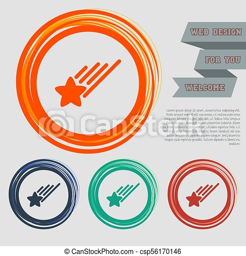 Star Icon on the red, blue, green, orange buttons for your website and design with space text. Vector - csp56170146