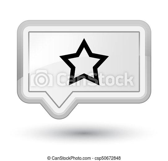 Star icon prime white banner button - csp50672848