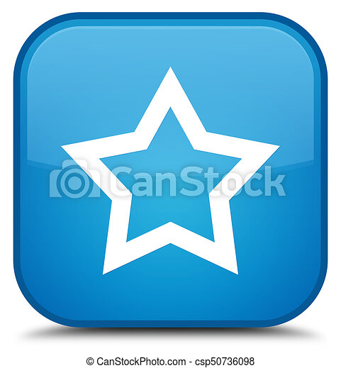 Star icon special cyan blue square button - csp50736098