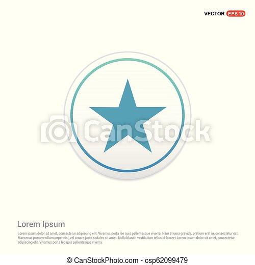 Star Icon - white circle button - csp62099479
