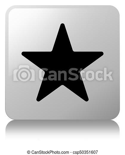 Star icon white square button - csp50351607