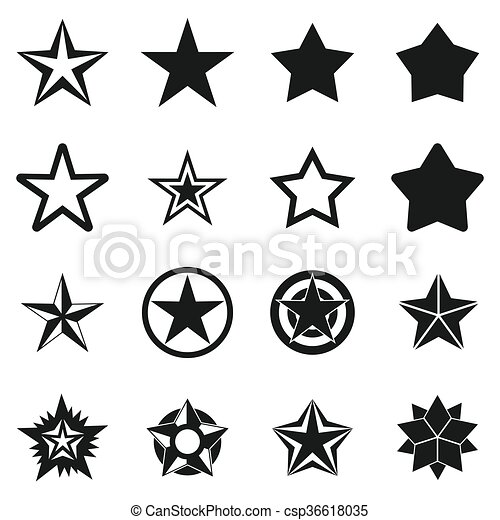 Star icons set, simple style - csp36618035