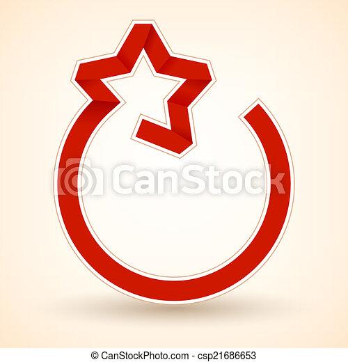 Lazo rojo en forma de estrella. Ilustración de vectores - csp21686653
