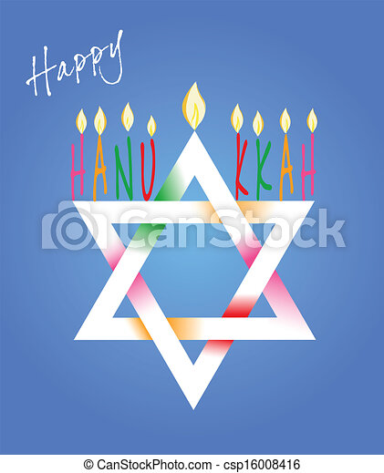 Star of David and Menorah Hanukkah - csp16008416