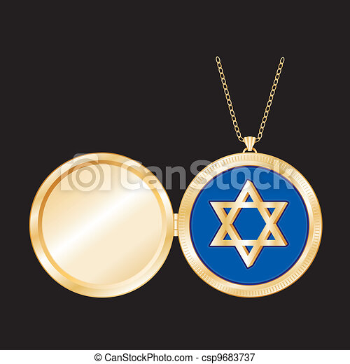Star of David Gold Locket, Necklace - csp9683737