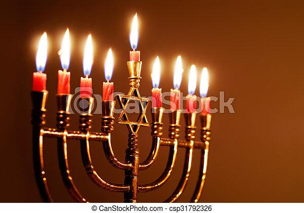Star of David Hanukkah Menorah - csp31792326