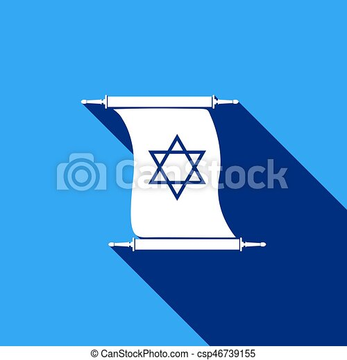 Star Of David On Scroll Icon With Long Shadow Adobe Illustrator