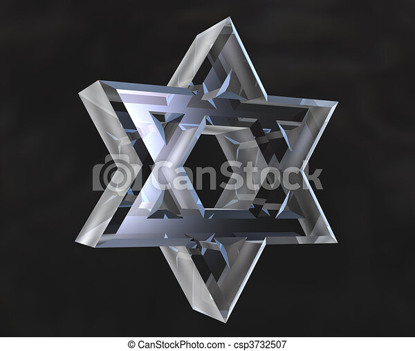 Star of David Symbol in glass - 3d  - csp3732507