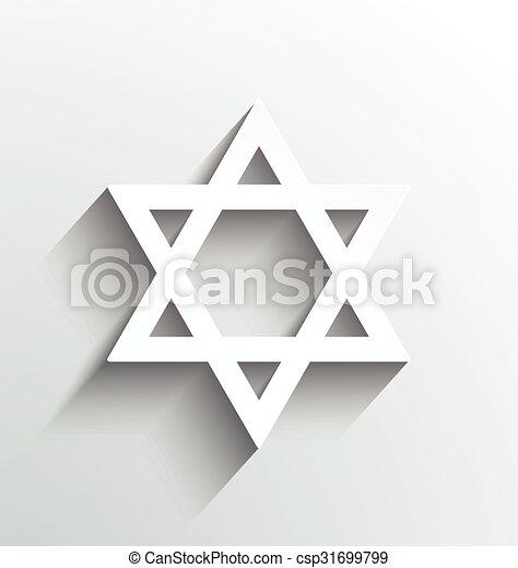 Star of David, white with shadows design - csp31699799