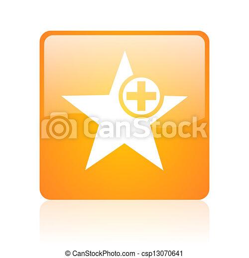 star orange square glossy web icon - csp13070641