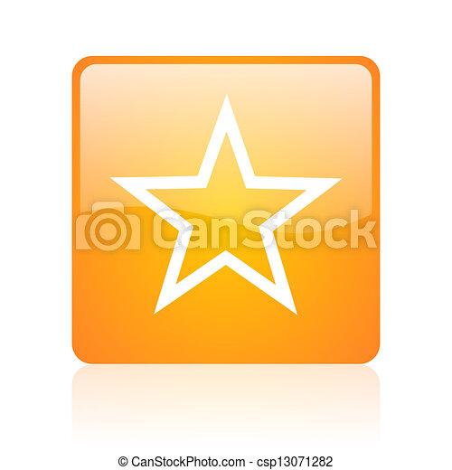 star orange square glossy web icon - csp13071282