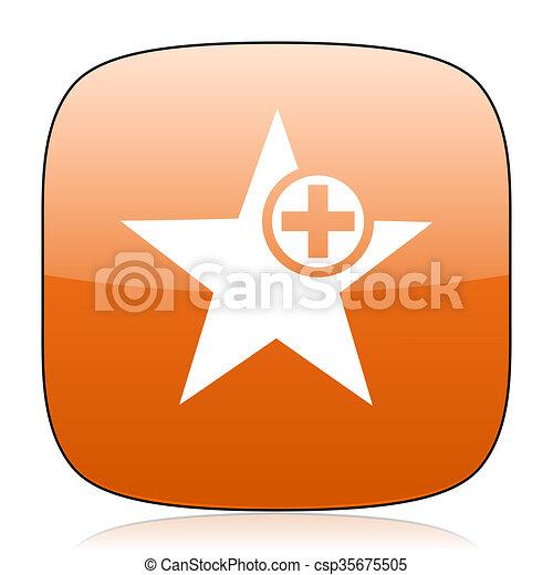 star orange square web design glossy icon - csp35675505