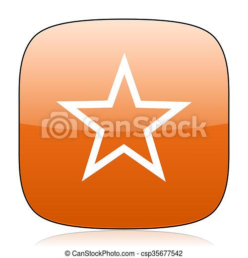 star orange square web design glossy icon - csp35677542