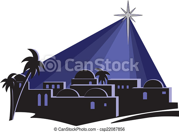 star over bethlehem an isolated illustration of the town of rh canstockphoto com clipart bethlehem stable bethlehem clipart black and white