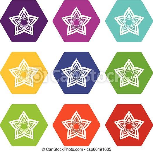 Star petal icons set 9 vector - csp66491685