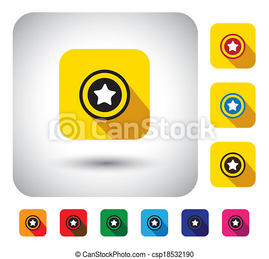 star rating sign on button - flat design vector icon. - csp18532190